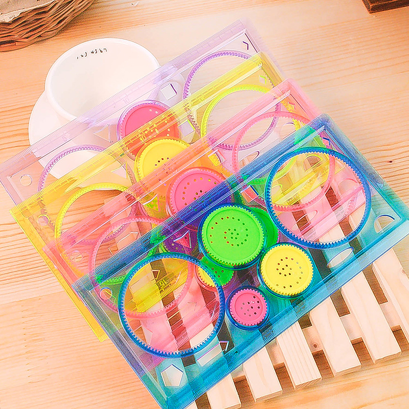 Painting-Multi-function-Interesting-Puzzle-Spirograph-Children-Drawing-Plastic-Ruler-Random-Color-Z17-3