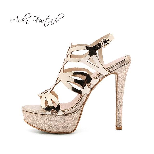 8bce9fd5ae28 Arden Furtado 2018 summer high heels 12cm platform stilettos open toe  fashion women s shoes gold evening party shoes sandals 42