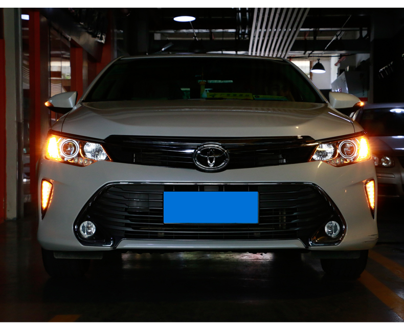 LED DRL daytime running light fog lamp for toyota camry 2015 with yellow turn signal, top quality, 100% waterproof