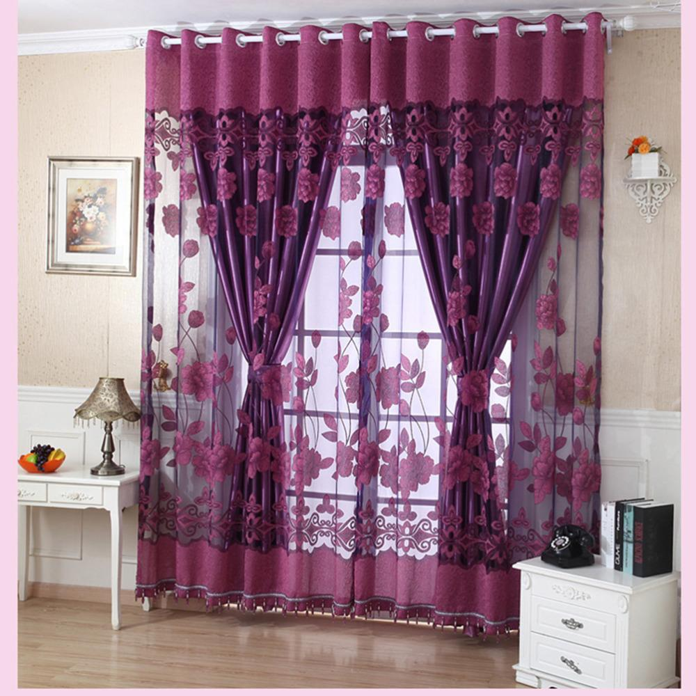100cmX250cm Flower Tulle Door Window Curtain Drape Panel Sheer Scarf Valances 4 Colors