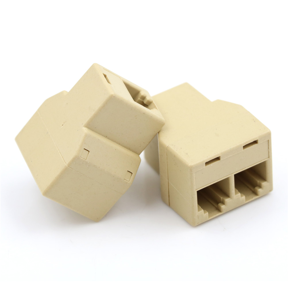 2PCS 1 To 2 Female RJ11 Telephone 4C Phone Jack Line Splitter Adapter Connector Home Improvement Accessories