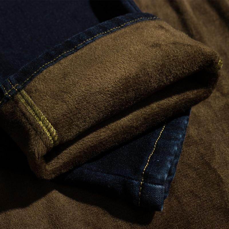 d0fa3e5c0a5 Брат Ван новые зимние мужские брендовые джинсы модные тонкие теплые  джинсовые штаны утолщение Бизнес повседневные джинсы мужские 40 42