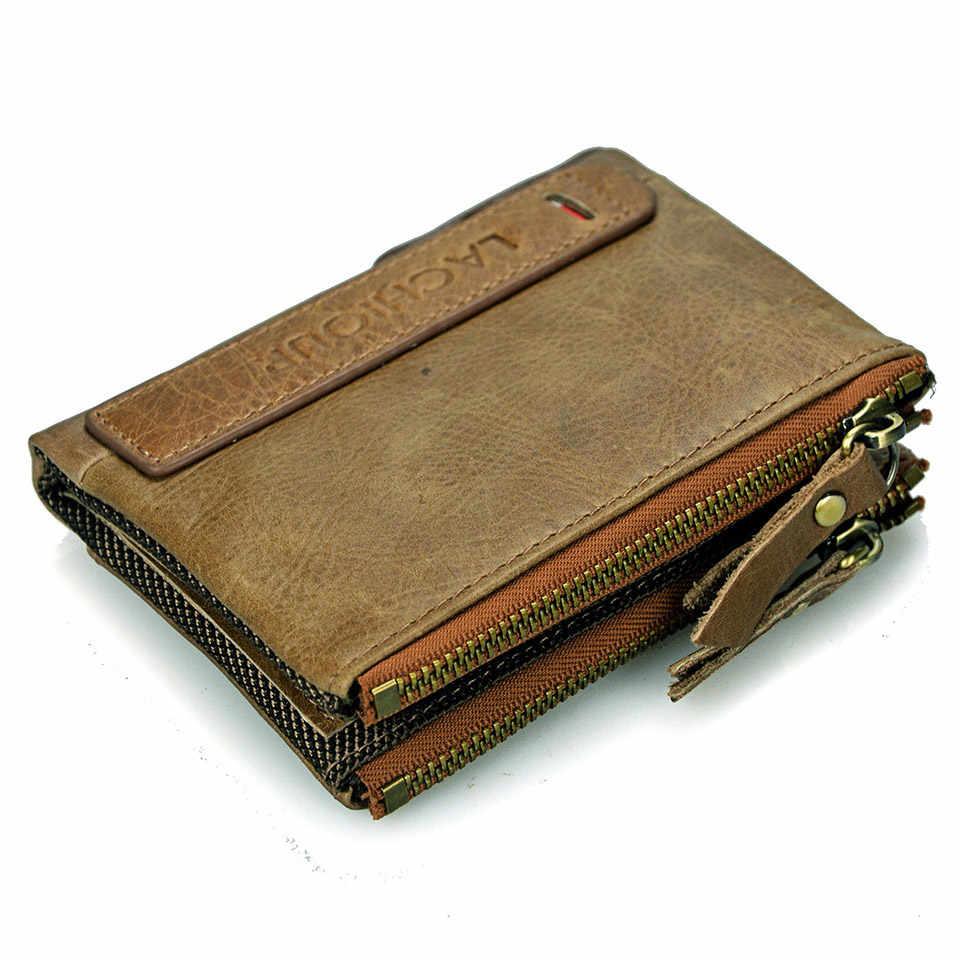Carteras de Cuero genuino para hombre, monedero de doble cremallera para hombre, Cartera de bolsillo para monedas, billetera delgada para hombre