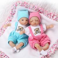 2pcs/set Reborn silicone dolls mini reborn twins babies boy girl dolls for children gift bebe realistic reborn bonecas