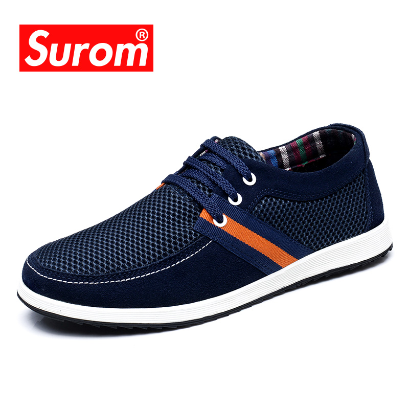 SUROM 2018 Summer Male Shoes Adult Breathable Mesh Krasovki Lace up Driving Boat Shoes Light Men's Casual Shoes Hot sale men shoes summer breathable lace up mesh casual shoes light comfort outdoor men flats cheap sale high quality krasovki