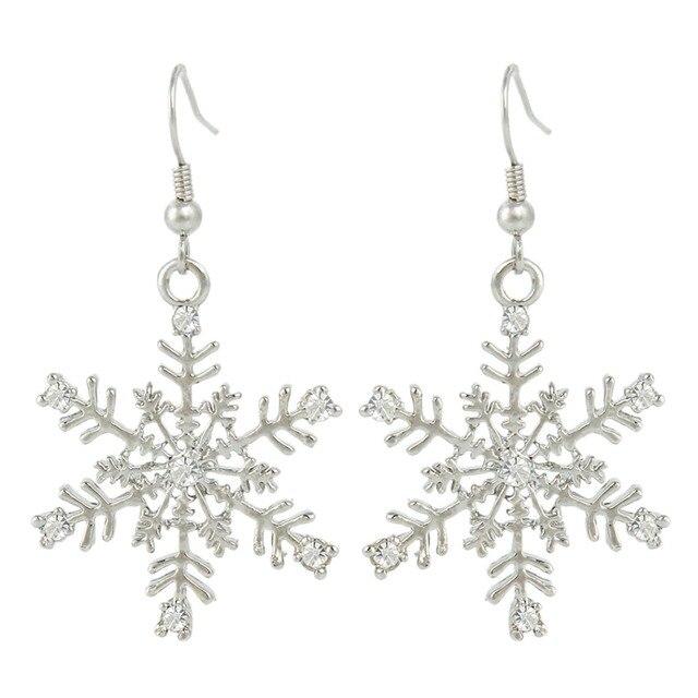 bd0480826 Bella Fashion Bridal Frozen Winter Snowflake Earrings Austrian Crystal Fish  Hook Earrings For Women Wedding Party Jewelry Gift