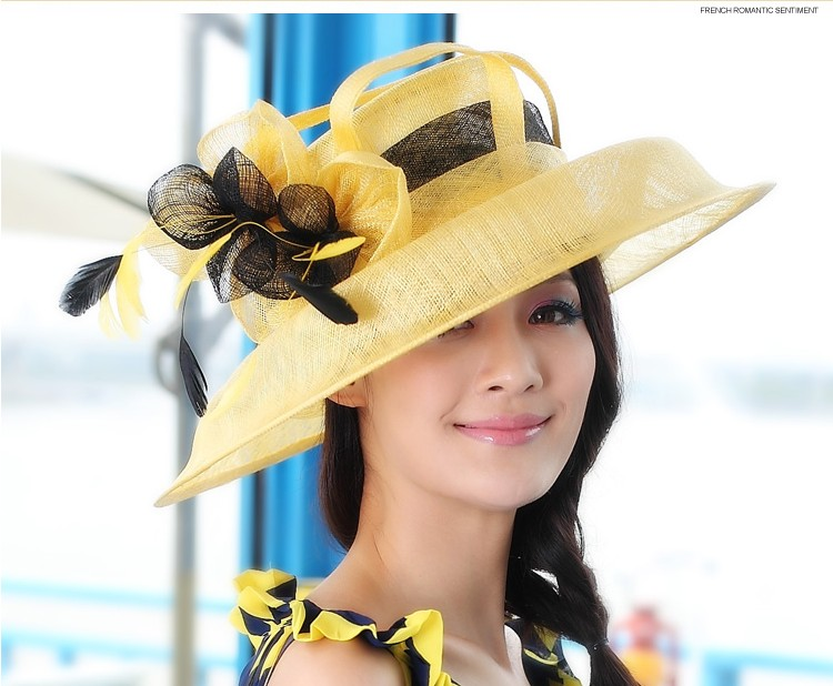 Women Church Hat Sinamay Fabric Fashion Dress Wide Brim Hat Formal Dress Sinamay Ribbon Flower Hat