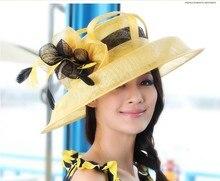 Women Church Hat Sinamay Fabric Fashion Dress Wide Brim Hat Formal Dress Sinamay Ribbon Flower Hat