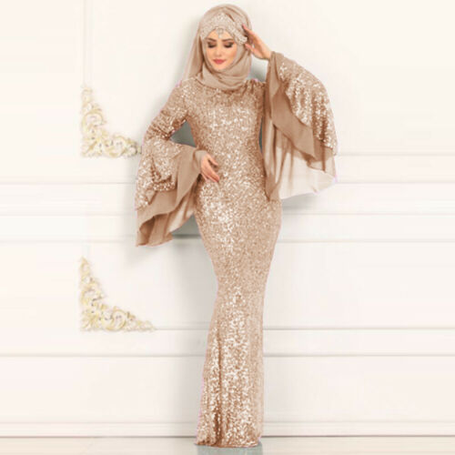 Fashion Dubai Style Long Sleeve Sqquin Muslim Islam Kaftan Abaya Maxi Long Muslim Dress Robe S-5XL