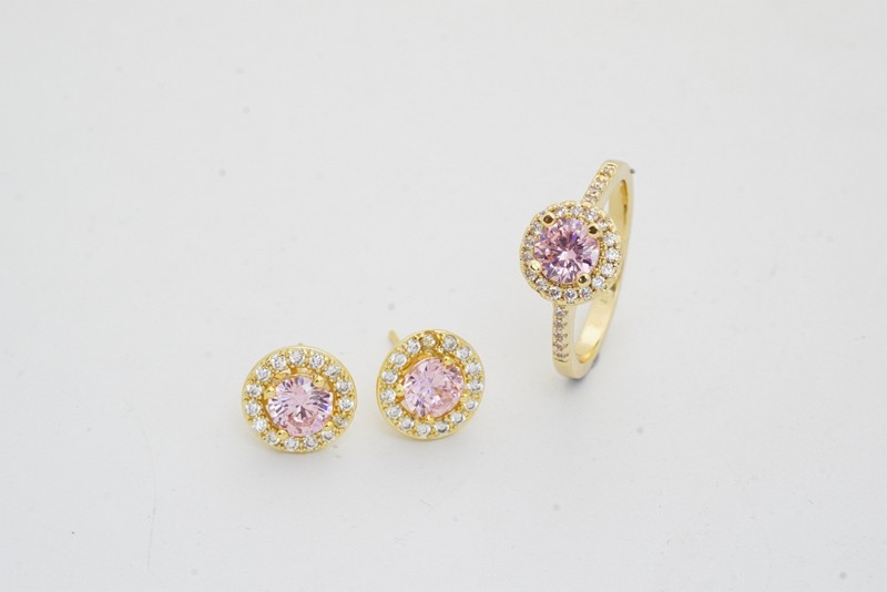 Pink Style Wedding Jewelry Sets Gold Color Fashion Earrings Rings For Women cz crystal Accessories birthday gift 1