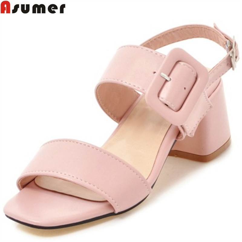 ASUMER 2018 fashion summer ladies shoes new arrival pink blue square heel sweet women sandals big size 34-43 cape love cashmere cape