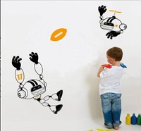 New Design Cute Robot Robots Play Rugy Design Style Removable Waterproof Vinyl Cartoon Sports Wall Sticker