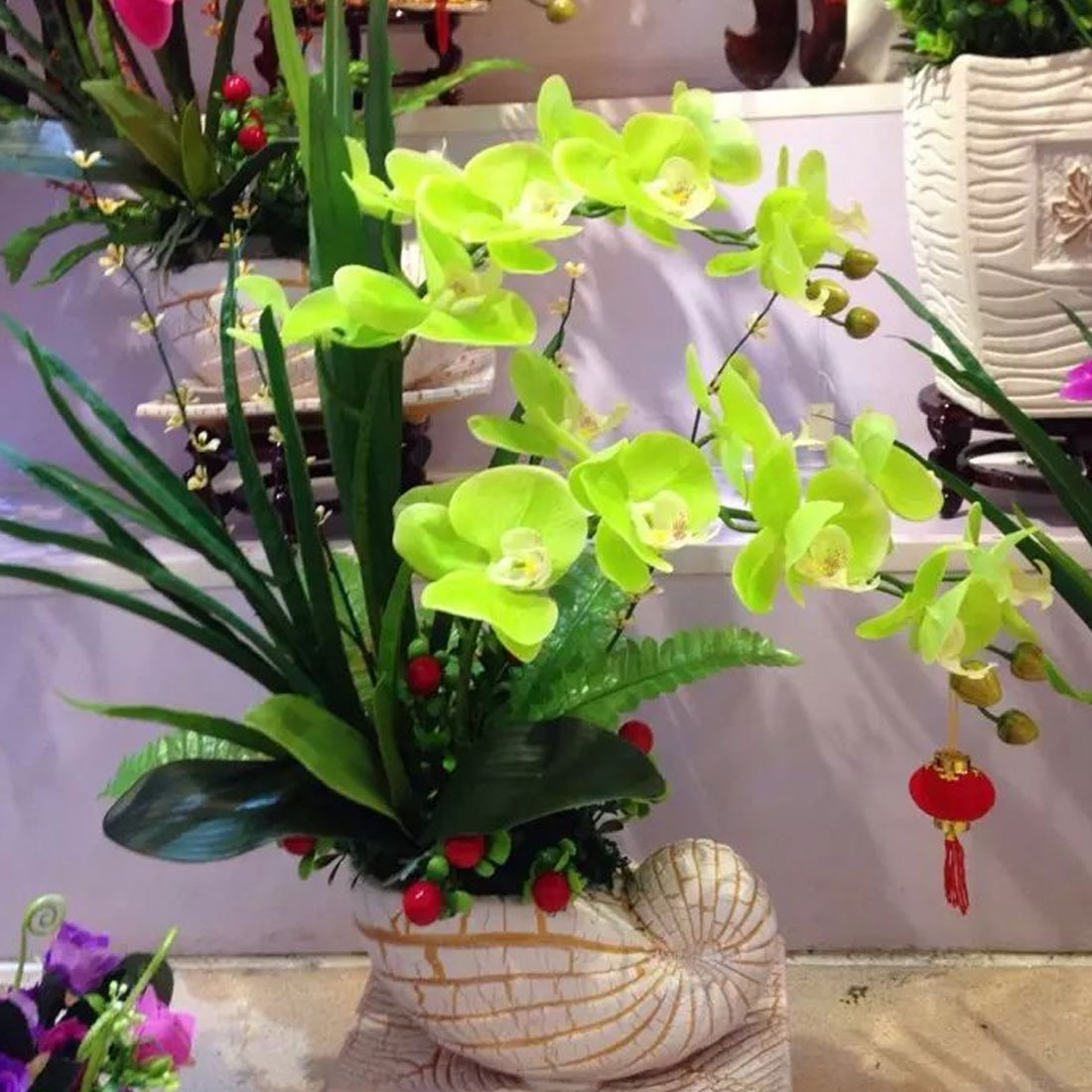 Artificial Flower Real Touch Latex Orchid Flowers with Leaves Wedding Decoration