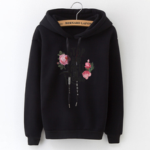 2018 Women's Hooded Sweatshirt New Casual Top Applique Lettering Rose Solid Slim