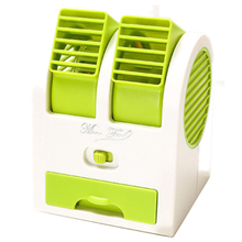 цена на Mini Usb Small Fan Cooling Portable Desktop Dual Bladeless Air Conditioner