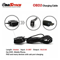 OBD2 USB Charging Cable 16pin to Micro USB/ Mini USB Connector Convert USB Cable For Android Phone Video Camera Car-detector