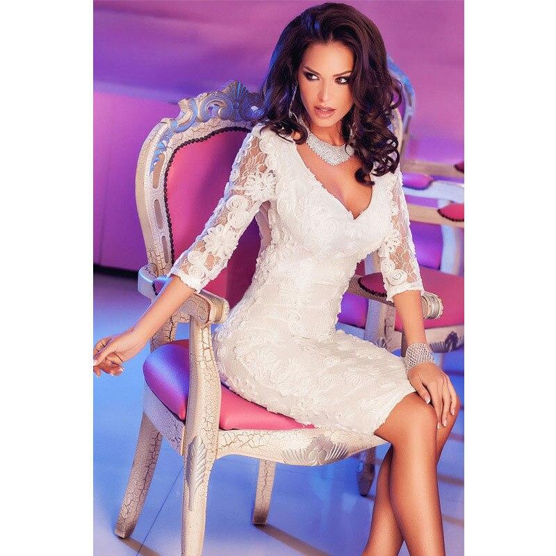 Dilameng European fashion elegant white lace collar V half sleeve sexy curve package hip dress