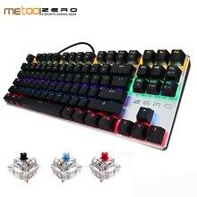 Новый Metoo механической клавиатуры 87/104 anti-ореолы световой синий черный переключатель светодиодный подсветкой Проводная клавиатура Русские наклейки