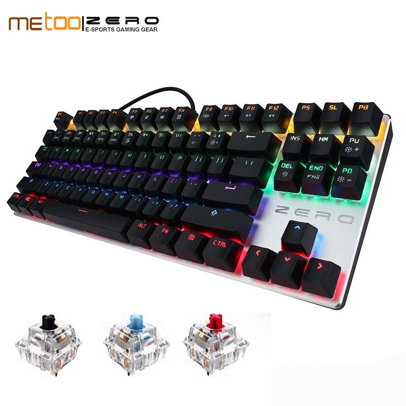 Nouveau Metoo clavier mécanique 87/104 Anti-fantôme lumineux bleu noir interrupteur LED rétro-éclairé filaire clavier de jeu autocollants russes