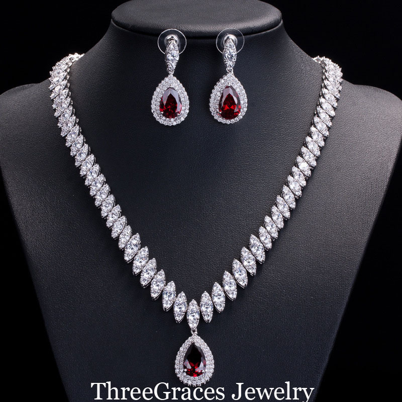 ThreeGraces Famous Brand African Design Bridal Accessories Red Cubic Zirconia Beads Jewelry Sets For Wedding Costume JS002 In From