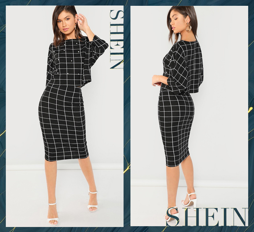 f8b224986f SHEIN Black Pearl Embellished Front Top Pencil Skirt Set Three ...