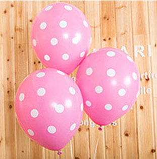 """20pcs Round Helium Quality 12inch"""" Pink Polka Dot Birthday Balloons wedding decorated with decorative wave point latex balloons"""