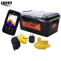 Idioma Ruso Lucky ff718lic real impermeable buscador de peces Monitores 2 en 1 inalámbrico sonar cable invierno hielo Pesca fishfinder # C5
