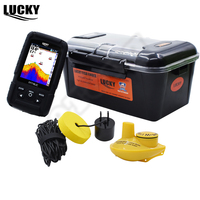 Russian Language Lucky FF718LiC Real Waterproof Fish Finder Monitor 2 In 1 Wireless Wired Sonar Winter