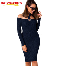 TryEverything Halter Neck Sweater Dress Bodycon Off Shoulder Knitted Dresses Women 2018 Sexy Elegant Midi Dress Vestido De Festa