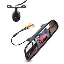 """Free Car câmera traseira de 4.3 """" TFT LCD retrovisor estacionamento monitores para DVD GPS reversa de Backup câmera veículo condução acessórios"""