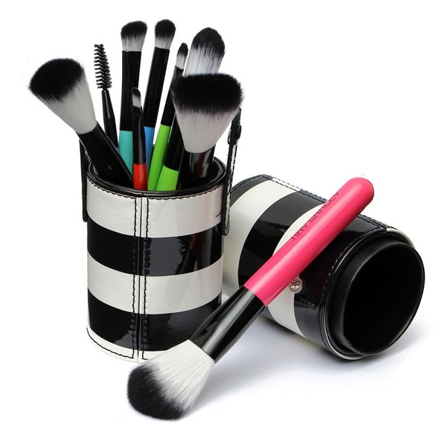 2016 Pro 10Pcs Makeup Brushes Set Cosmetic Beauty Brush Tool Kit With Cup PU Leather Round Pen Holder Case New Portable