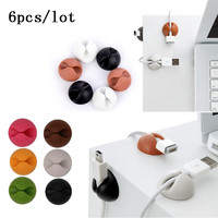 6Pcs/lot Multipurpose Double holes Wire Cord Cable Clips Ties USB Charger Holder Organizer With Adhesive Desk Tidy Wire