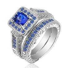 2 Pcs/set Classic Ocean Blue Crystal Square Wedding Rings Sets for Women Lady Promise Love Couple Pair Ring Engagement Jewelry