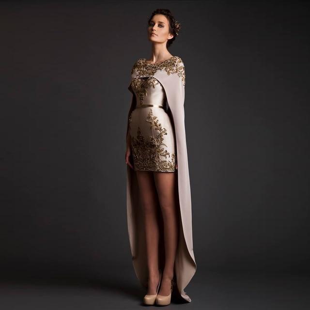 ae119dd53b1 Krikor Jabotian 2014 Evening Dresses Satin Sheath Crew Celebrity Dress  Appliques Beads with Wrap Hi-Low Prom Gowns