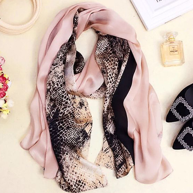2016 Fashion Silk Scarfs for Women Luxury Brand New 100% Pure Silk Scarf Snake/Floral/Skull Printed Scarf Ladies Beach Shawls