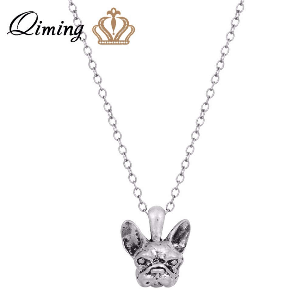 QIMING 3D Realistic Dog Charm Pendant Necklace Handmade French Bulldog Face Necklace in Great for all the Dog For Girl Gift