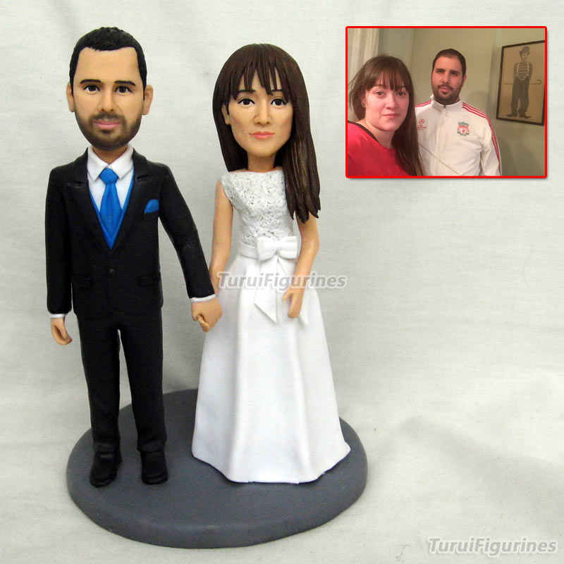 polymer clay baby custom face wedding cake topper figurine miniature  romantic funny cake topper figure bride and groom statue