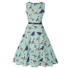 HimanJie Women s Retro Hepburn Style Pretty Sleeveless Dress with Belt  A-line Dress af117f58b51a