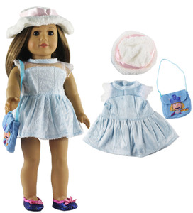 Image 3 - 5 Set Fashion Style Clothing Doll Clothes+4 hats+4 bags+one pairs tights for 18 inch doll clothes american doll accessories