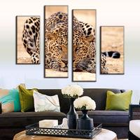 Excellent Huge Size Modern 4 Pieces Animal Oil Painting Hungry Leopard From Africa Home Decoration