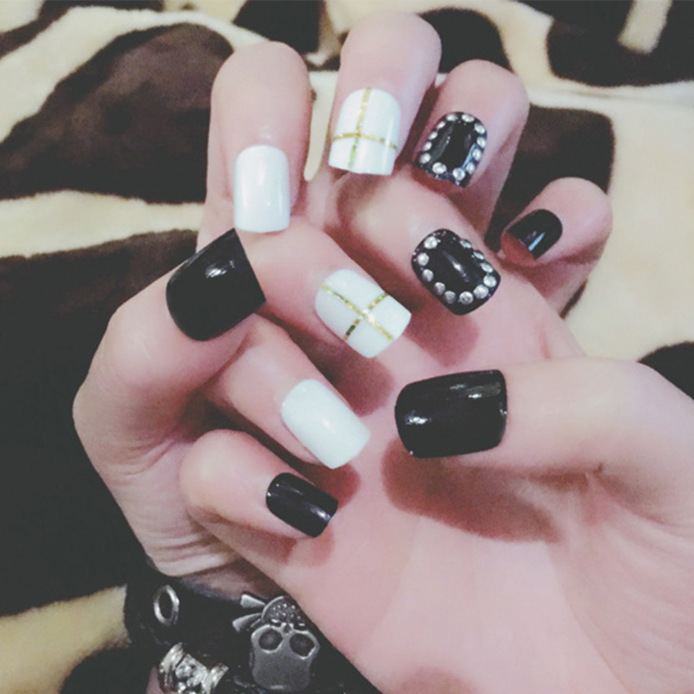 24pcs/Set Punk Black White False Nails European and American Style ...