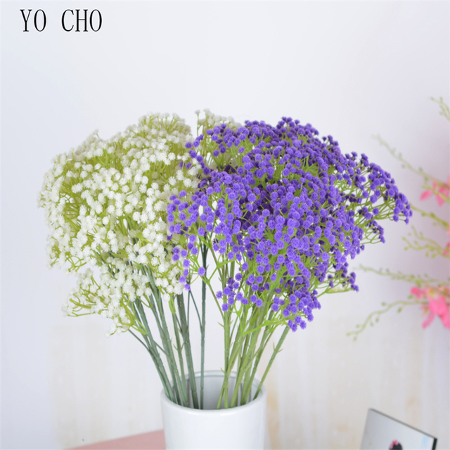 YO CHO10Pcs Artificial BabysBreath Flower Gypsophila Plant Wedding Party Decoration Real Touch Fake Flower DIY Home Garden Decor 1