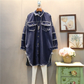 [XITAO] 2017 spring new Europe fashion women long sleeve Loose jean blouse female stitching denim street style jean shirt ABB008