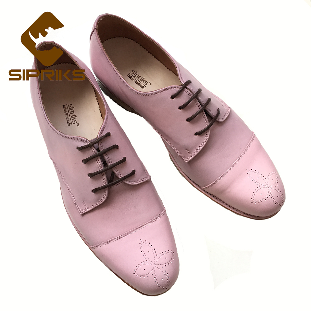 SIPRIKS mens pink leather shoes grooms wedding shoes italian bespoke Goodyear welted shoes mens cap toe derby shoes european new luxury bespoke goodyear welted shoes elegant mens dress shoes italian unique boss wingtips shoes italian grooms wedding shoes