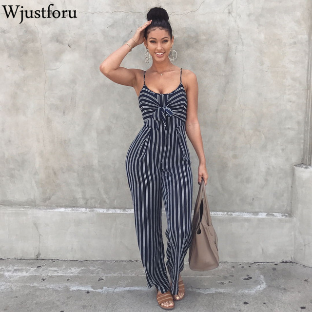 5d7997129a90 Wjustforu Sexy Bow Strap Striped Jumpsuit Wide Legs Summer Sleeveless  Backless Off Shoulder High Split Rompers Womens Jumpsuits