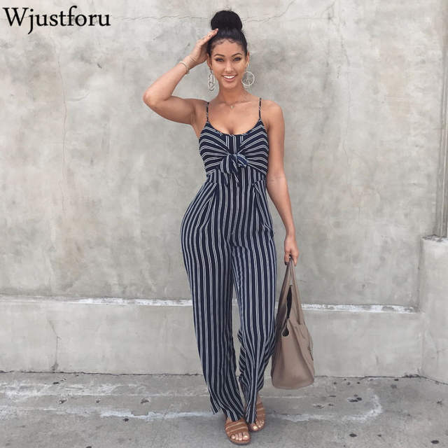 3c5568a8b8dd Online Shop Wjustforu Sexy Bow Strap Striped Jumpsuit Wide Legs Summer  Sleeveless Backless Off Shoulder High Split Rompers Womens Jumpsuits