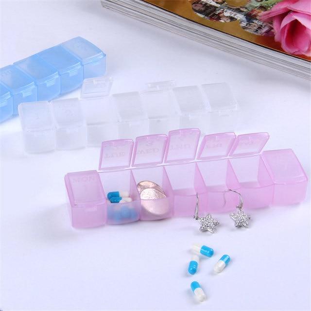 휴대용 알 약 상자 7 긴 스트립 투명 알 약 상자 7 구획 저장소 상자 주 알 약 다기능 가정용 제품 qw104
