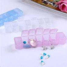 المحمولة حبة مربع 7 شرائط طويلة شفافة حبة مربع 7 المقصورات صندوق تخزين أسبوع حبة متعددة الوظائف المنزلية المنتجات QW104