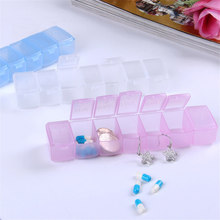 Portable pill box 7 long strips transparent pill box 7 compartments storage box week pill multifunction household products QW104