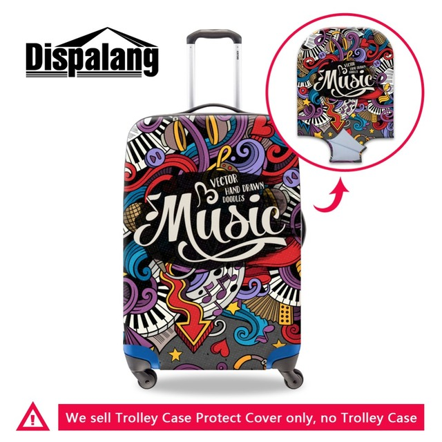 Dispalang Dropshipping Luggage Cover Artistic Musical Printed Suitcase Rain Cover Waterproof Trolley case protector for Women